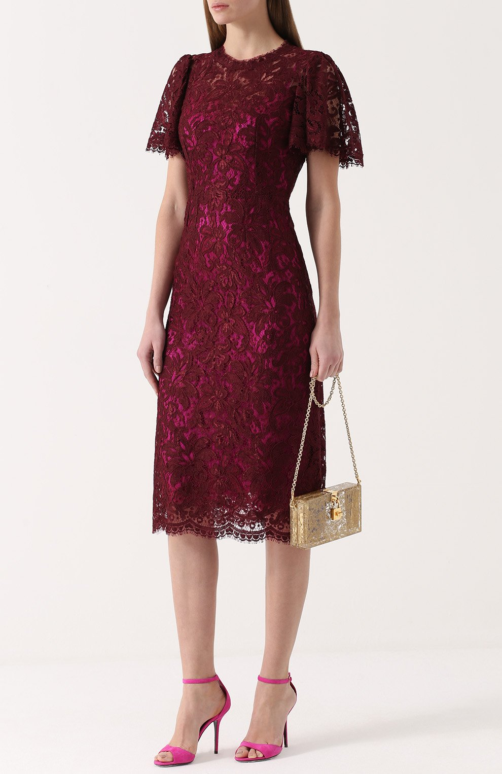Кружевное приталенное платье с коротким рукавом Dolce & Gabbana бордовое | Фото №2