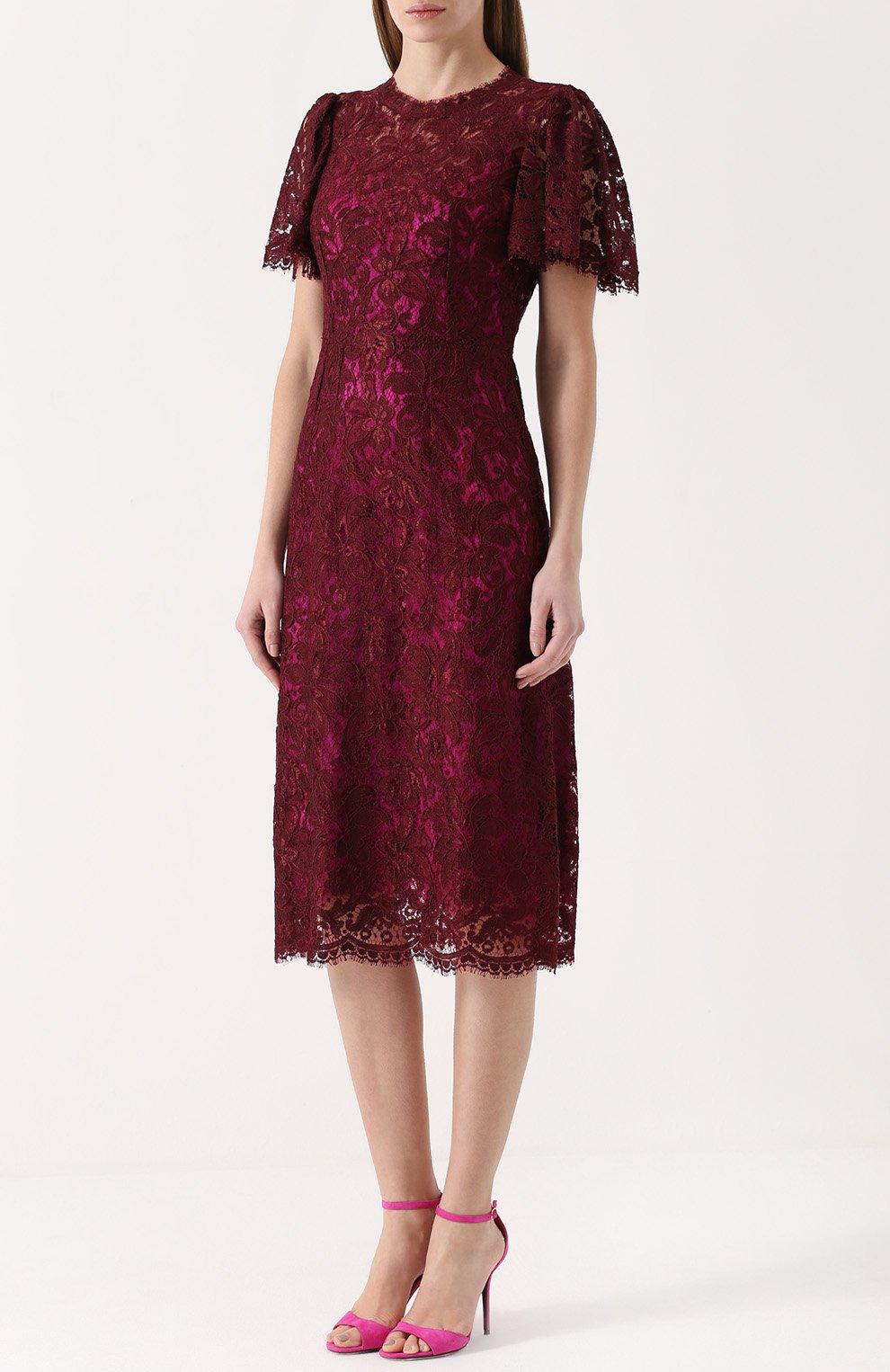 Кружевное приталенное платье с коротким рукавом Dolce & Gabbana бордовое | Фото №3