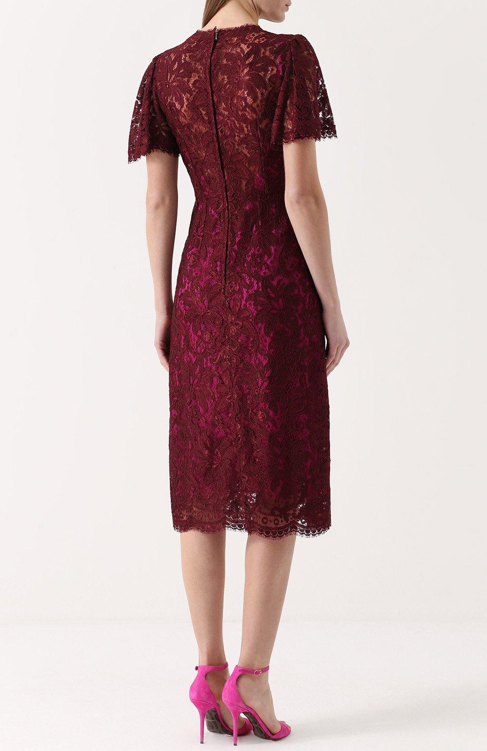 Кружевное приталенное платье с коротким рукавом Dolce & Gabbana бордовое | Фото №4