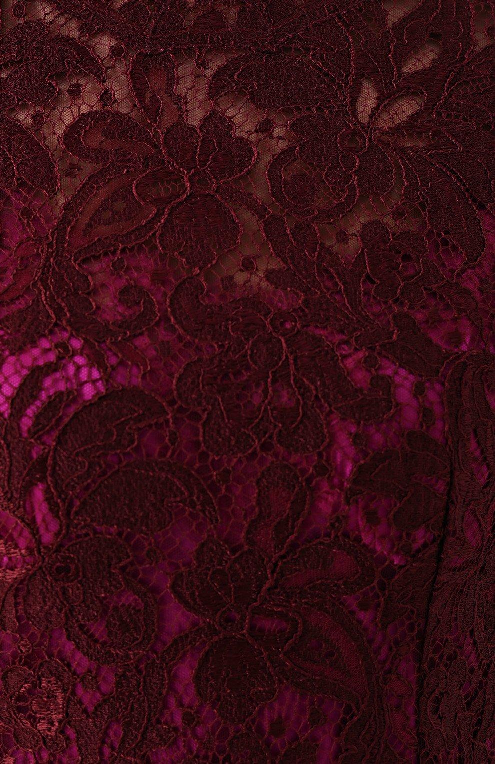 Кружевное приталенное платье с коротким рукавом Dolce & Gabbana бордовое | Фото №5