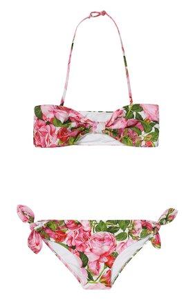 Бикини с цветочным принтом Dolce & Gabbana белого цвета | Фото №1