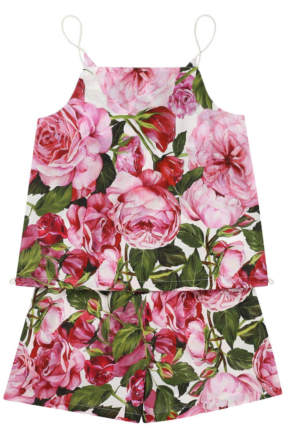 Майка и шорты с цветочным принтом | Фото №1