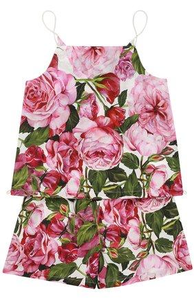 Майка и шорты с цветочным принтом Dolce & Gabbana белого цвета | Фото №1