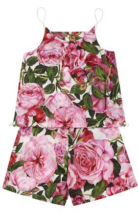 Майка и шорты с цветочным принтом Dolce & Gabbana белого цвета | Фото №2