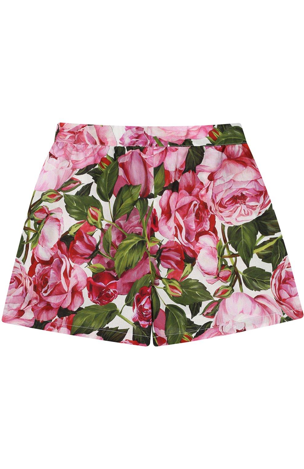 Майка и шорты с цветочным принтом Dolce & Gabbana белого цвета | Фото №3