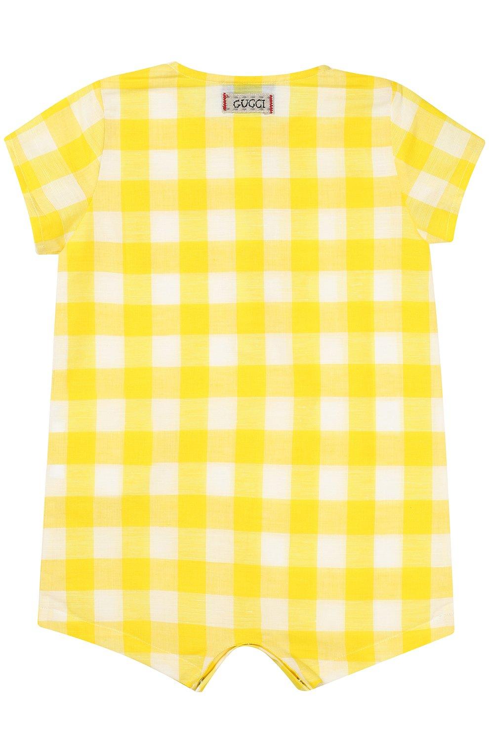 Детское песочник из смеси хлопка и льна GUCCI желтого цвета, арт. 452631/XB381   Фото 2