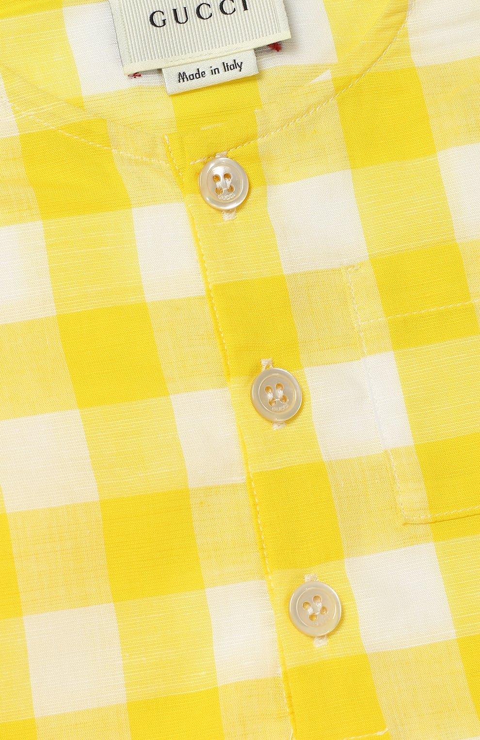 Детское песочник из смеси хлопка и льна GUCCI желтого цвета, арт. 452631/XB381   Фото 3