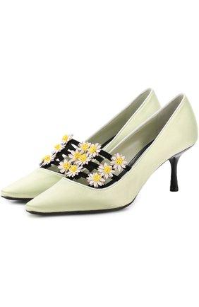 Туфли из текстиля с цветочной аппликацией | Фото №1