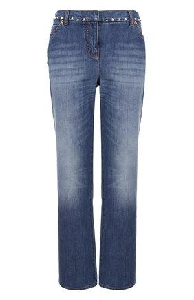 Женские джинсы с заклепками VALENTINO голубого цвета, арт. MB3DD03B/2Q0 | Фото 1