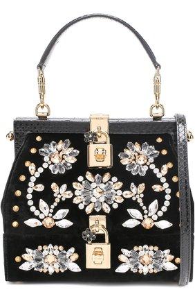 Сумка из бархата с вышивкой кристаллами и отделкой из кожи змеи Dolce & Gabbana черного цвета | Фото №1
