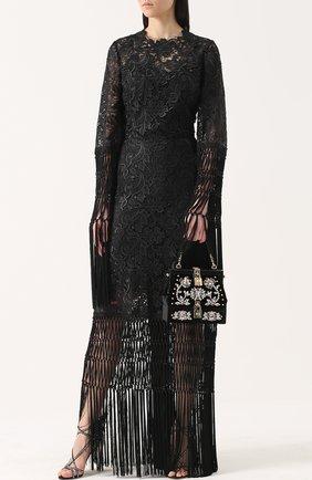 Сумка из бархата с вышивкой кристаллами и отделкой из кожи змеи Dolce & Gabbana черного цвета | Фото №2