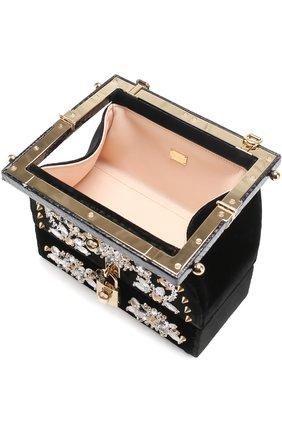 Сумка из бархата с вышивкой кристаллами и отделкой из кожи змеи Dolce & Gabbana черного цвета | Фото №4