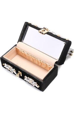 Сумка из бархата с вышивкой кристаллами и отделкой из кожи змеи Dolce & Gabbana черного цвета | Фото №5