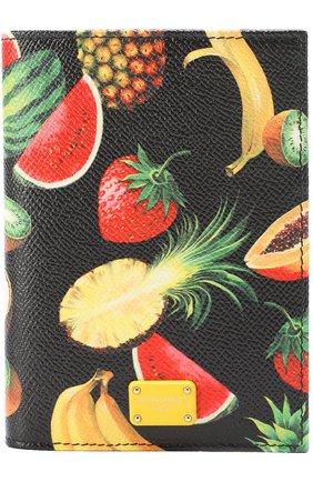 Кожаная обложка для документов с принтом Dolce & Gabbana черного цвета | Фото №1