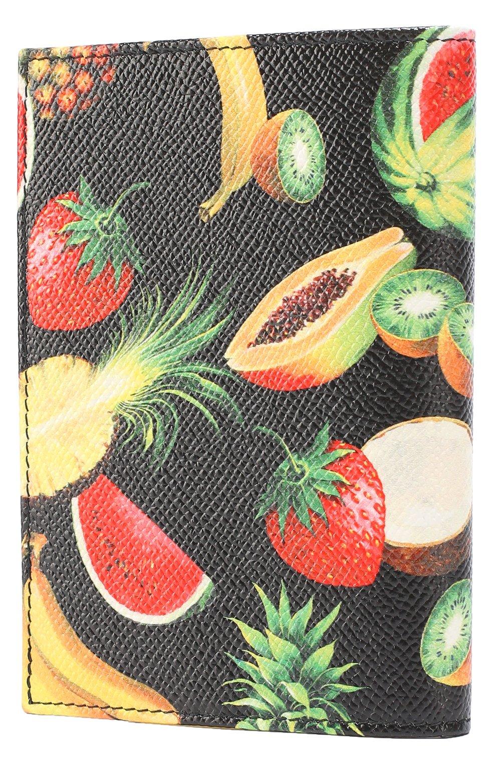 Кожаная обложка для документов с принтом Dolce & Gabbana черного цвета | Фото №2
