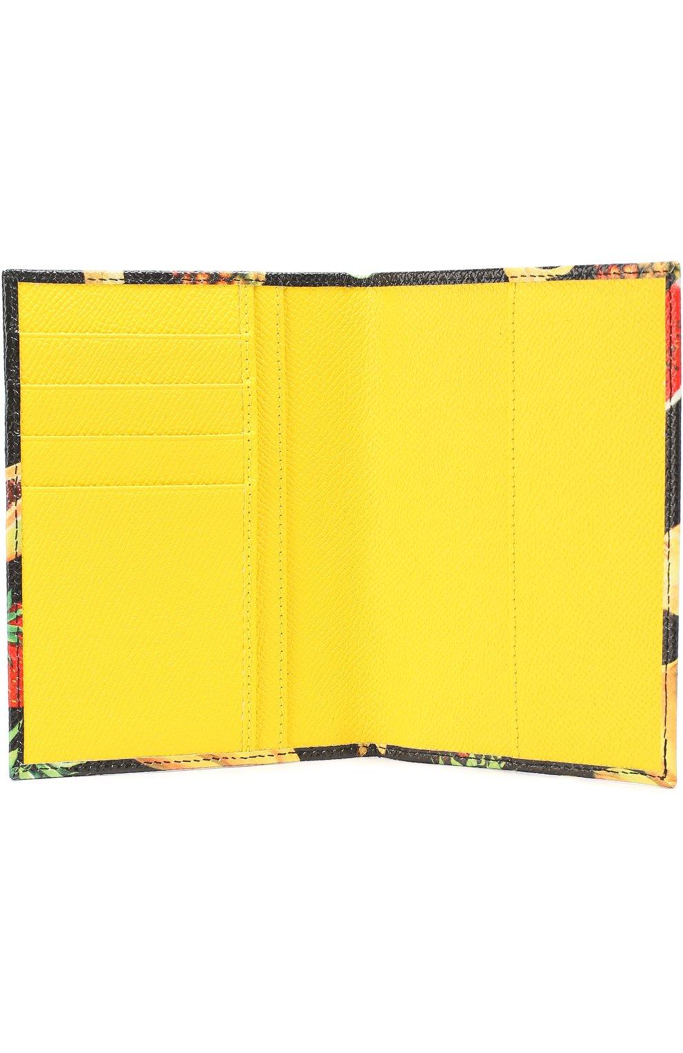Кожаная обложка для документов с принтом Dolce & Gabbana черного цвета | Фото №3