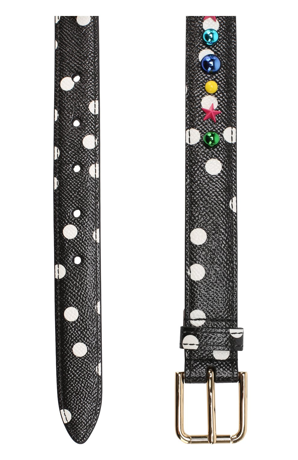 Кожаный ремень с принтом и декором Dolce & Gabbana черно-белый   Фото №2