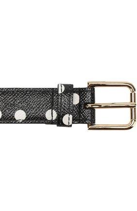 Кожаный ремень с принтом и декором Dolce & Gabbana черно-белый   Фото №3