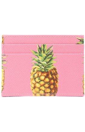 Кожаный футляр для кредитных карт Dolce & Gabbana розового цвета   Фото №1
