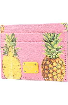 Кожаный футляр для кредитных карт Dolce & Gabbana розового цвета   Фото №2
