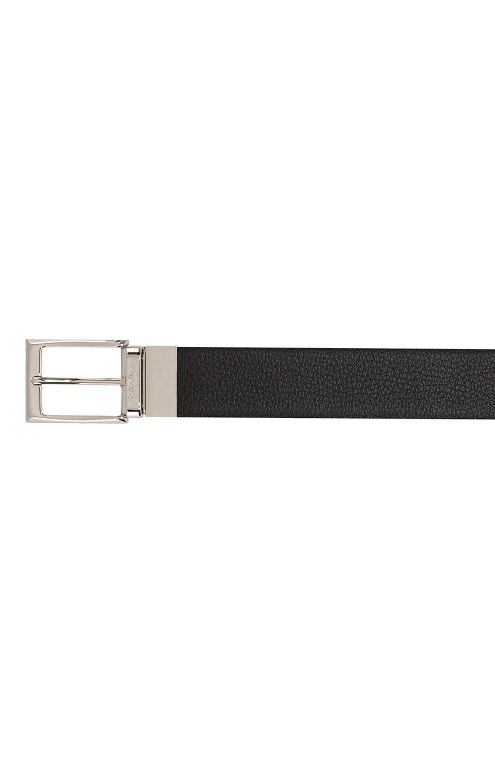 Мужской кожаный ремень CANALI черного цвета, арт. KA00107/50 | Фото 3