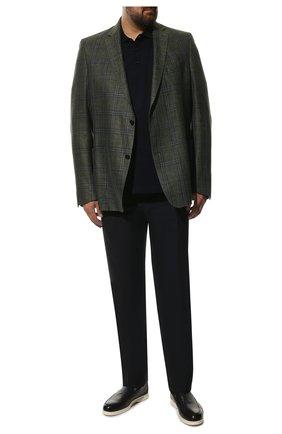 Мужские шерстяные брюки прямого кроя CANALI темно-синего цвета, арт. AT00552/71012   Фото 2