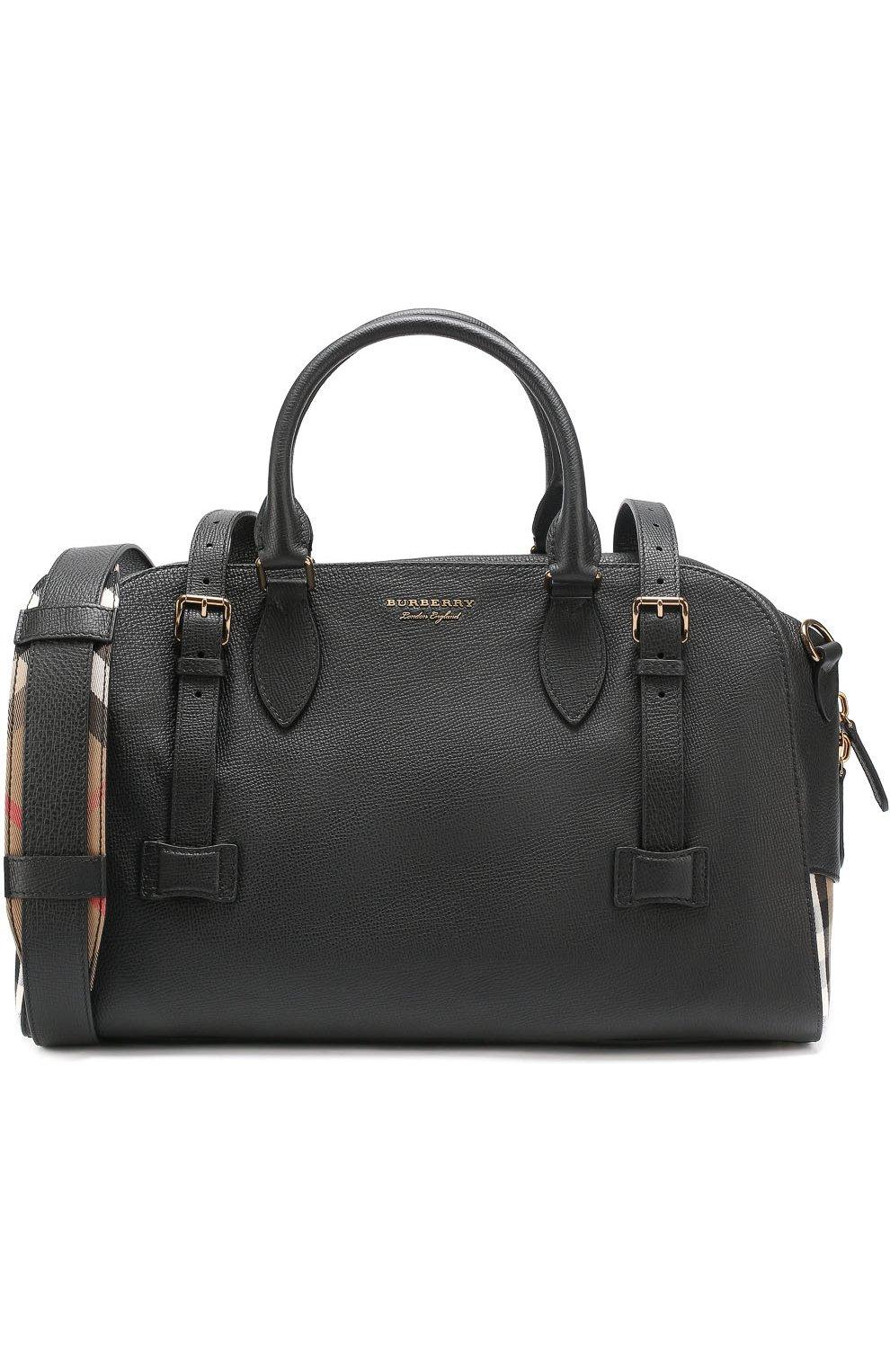 83bb6dba8e23 Кожаная дорожная сумка с плечевым ремнем и контрастной отделкой   Фото №1