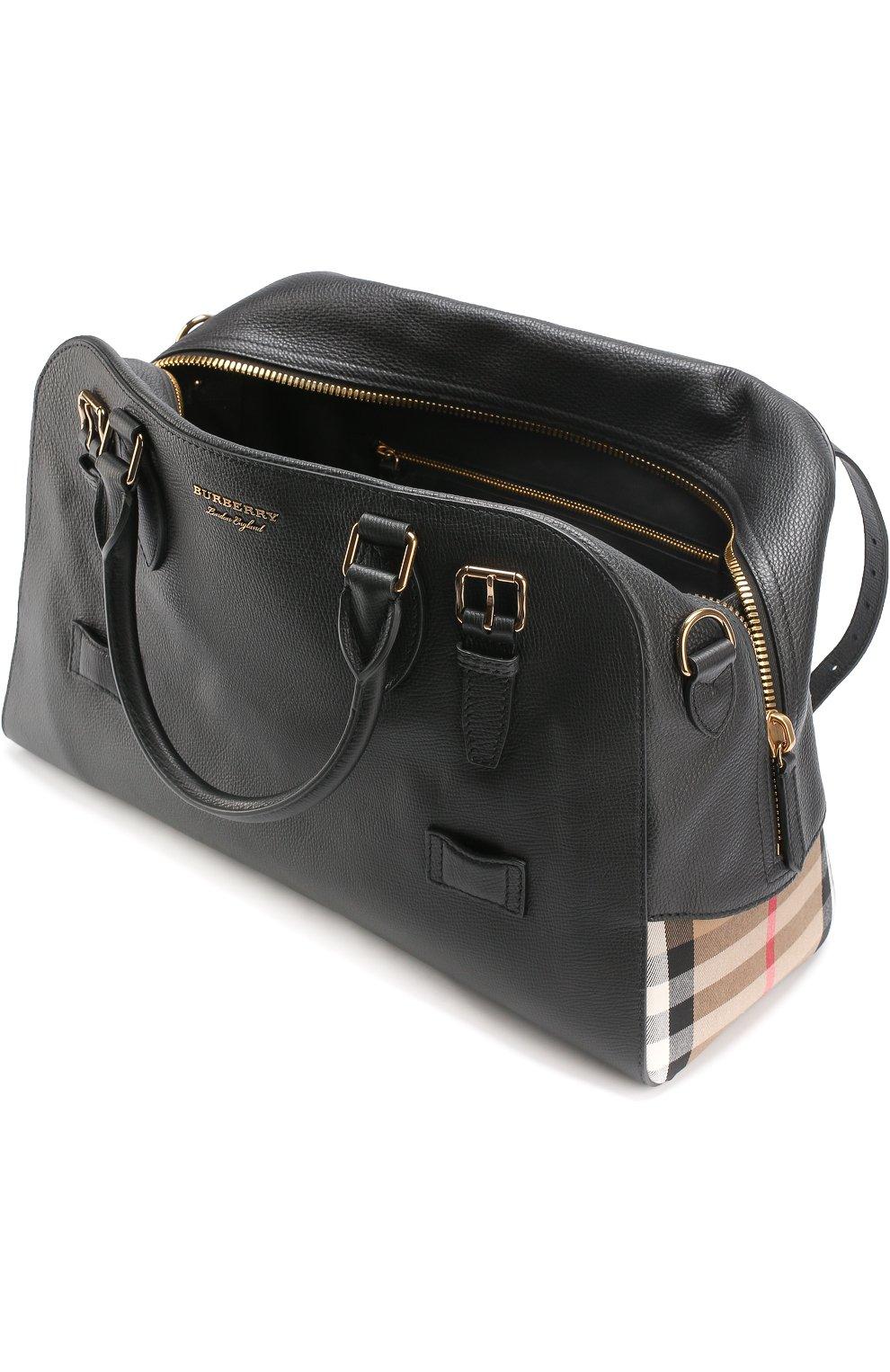 def6dd0ce758 Кожаная дорожная сумка с плечевым ремнем и контрастной отделкой   Фото №4