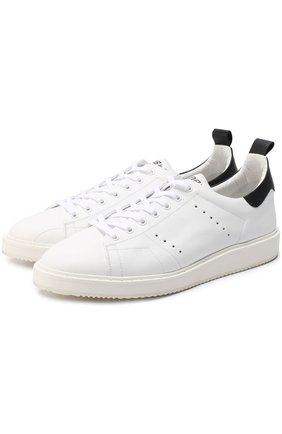 Кожаные кеды на шнуровке с контрастной отделкой