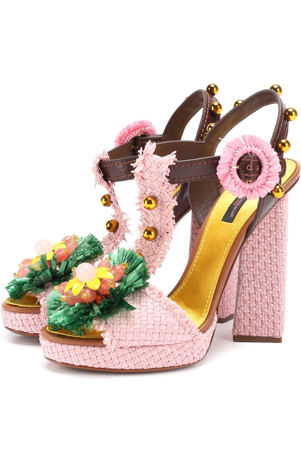 Плетеные босоножки Keira с декором   Фото №1