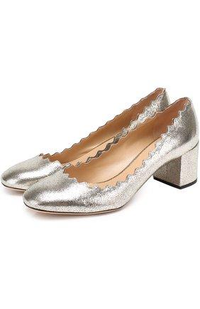 Туфли Lauren из металлизированной кожи с фигурным вырезом