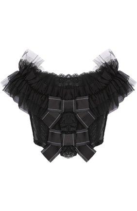 Кружевной топ с открытыми плечами и оборками Dolce & Gabbana черный   Фото №1