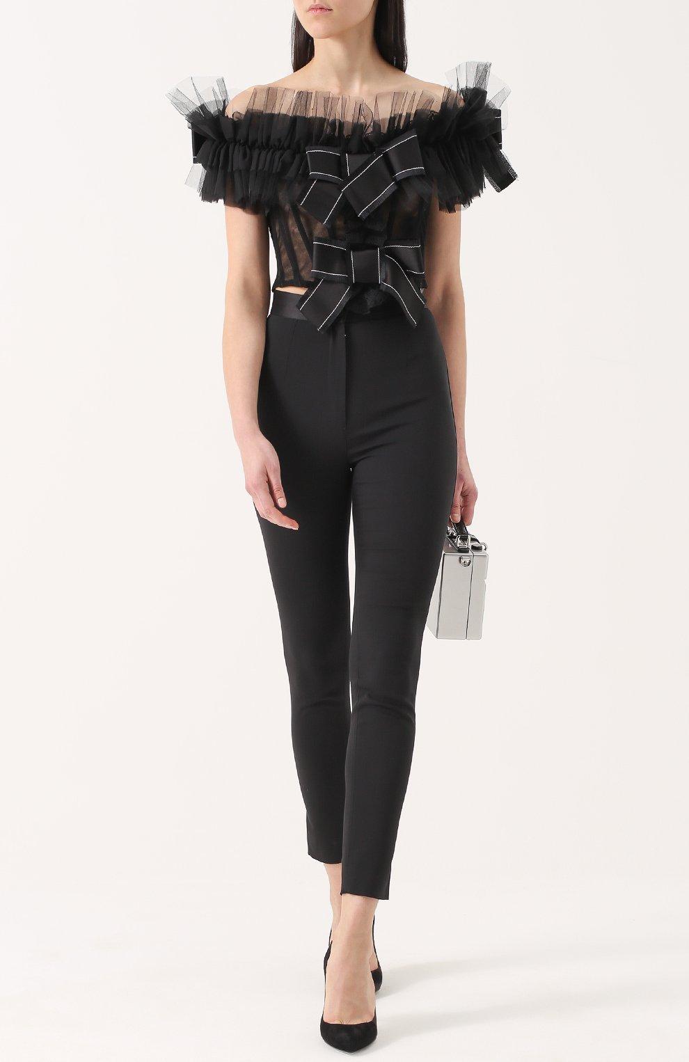 Кружевной топ с открытыми плечами и оборками Dolce & Gabbana черный   Фото №2
