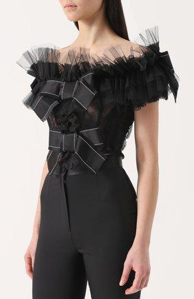 Кружевной топ с открытыми плечами и оборками Dolce & Gabbana черный   Фото №3