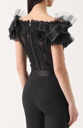 Кружевной топ с открытыми плечами и оборками Dolce & Gabbana черный   Фото №4