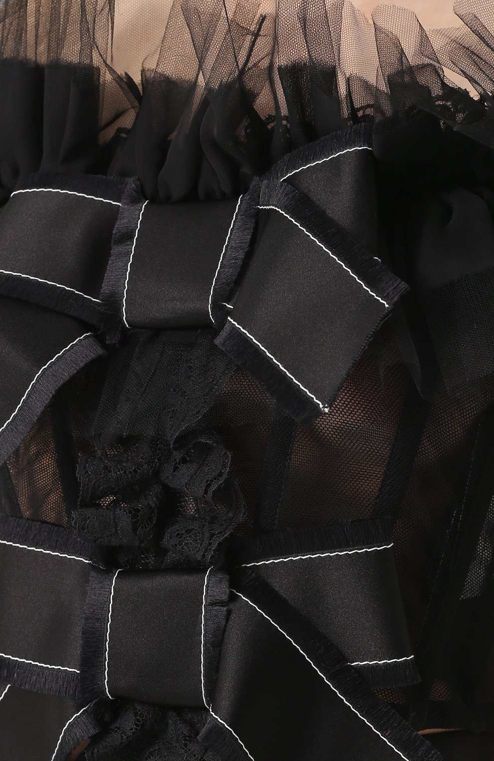 Кружевной топ с открытыми плечами и оборками Dolce & Gabbana черный   Фото №5