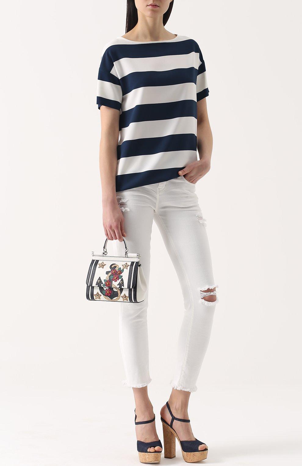 Топ прямого кроя в контрастную полоску Dolce & Gabbana темно-синий | Фото №2