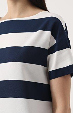 Топ прямого кроя в контрастную полоску Dolce & Gabbana темно-синий | Фото №5