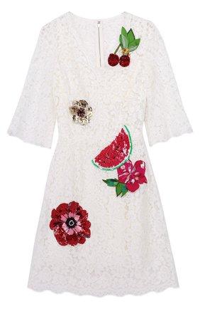 Кружевное мини-платье с контрастной отделкой | Фото №1