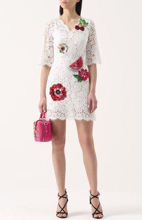 Кружевное мини-платье с контрастной отделкой | Фото №2