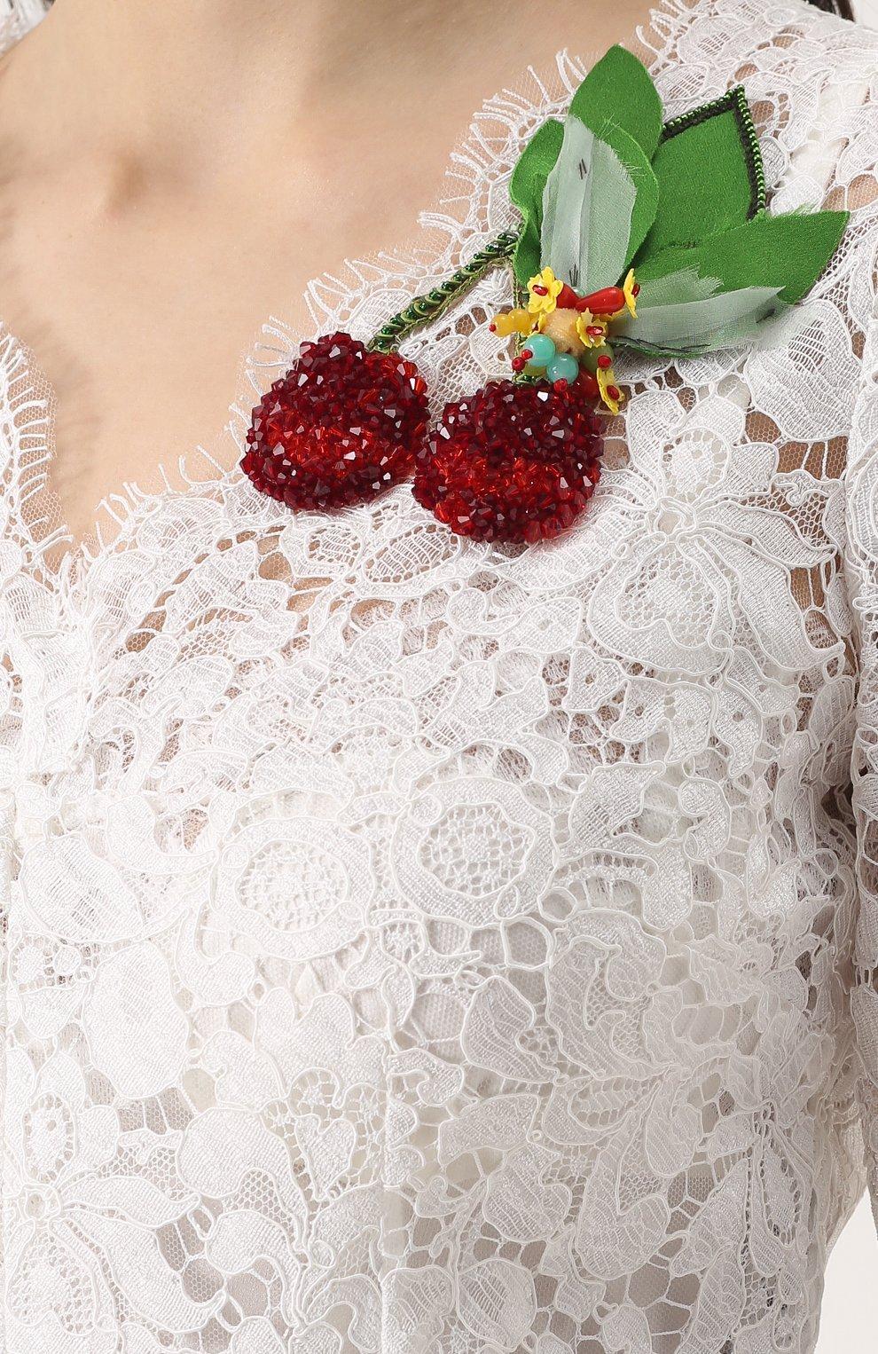 Кружевное мини-платье с контрастной отделкой | Фото №5