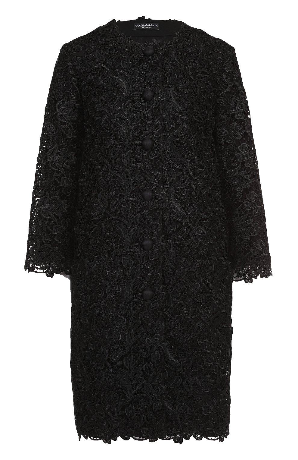 Кружевное пальто прямого кроя с укороченными рукавами | Фото №1