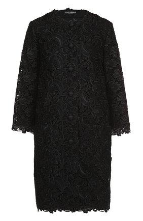 Кружевное пальто прямого кроя с укороченными рукавами Dolce & Gabbana черного цвета | Фото №1