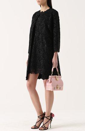 Кружевное пальто прямого кроя с укороченными рукавами Dolce & Gabbana черного цвета | Фото №2