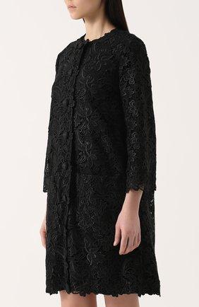 Кружевное пальто прямого кроя с укороченными рукавами Dolce & Gabbana черного цвета | Фото №3