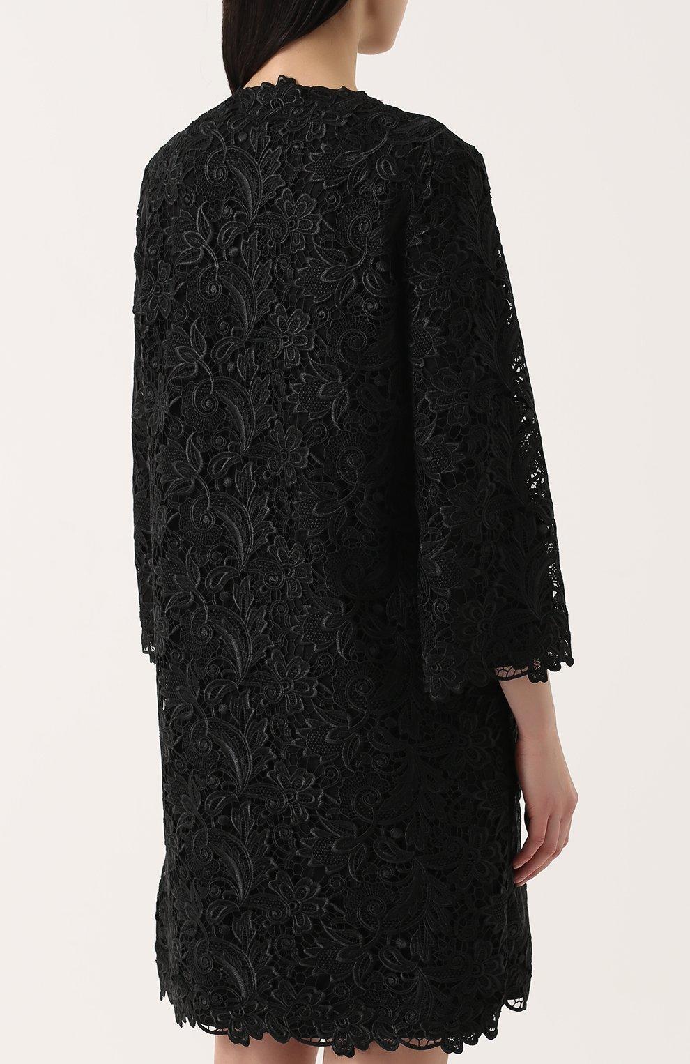 Кружевное пальто прямого кроя с укороченными рукавами Dolce & Gabbana черного цвета | Фото №4