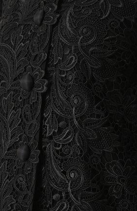 Кружевное пальто прямого кроя с укороченными рукавами Dolce & Gabbana черного цвета | Фото №5