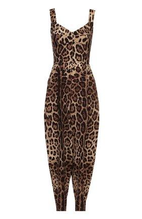 Приталенный комбинезон с леопардовым принтом Dolce & Gabbana коричневый | Фото №1