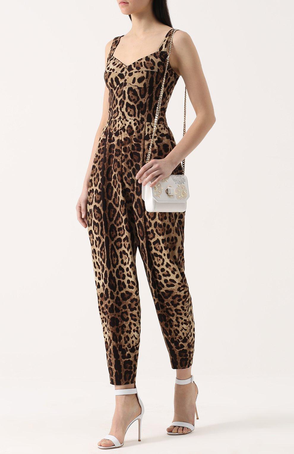 Приталенный комбинезон с леопардовым принтом | Фото №2