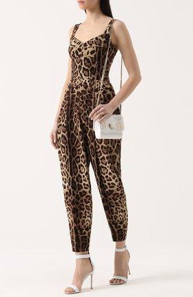 Приталенный комбинезон с леопардовым принтом Dolce & Gabbana коричневый | Фото №2